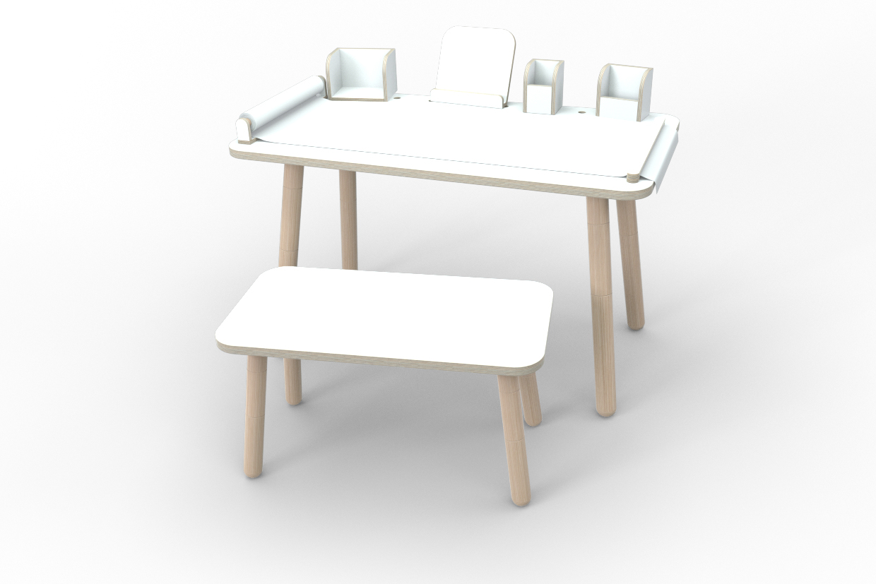 weißes Komplett-Set growing table aus Holz von pure position