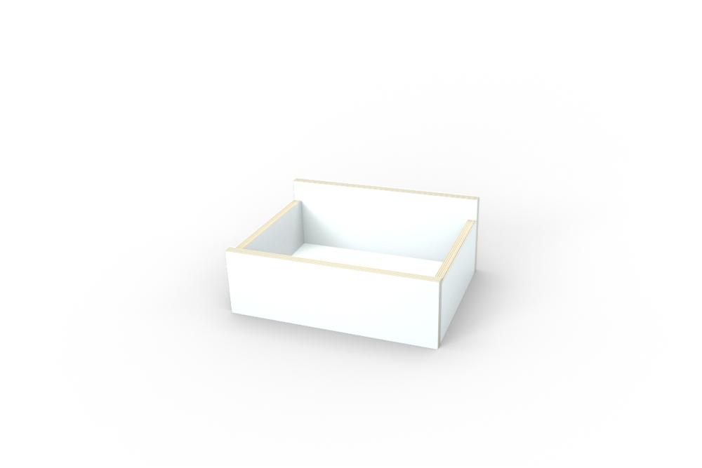 weiße kleine Box aus Holz von pure position
