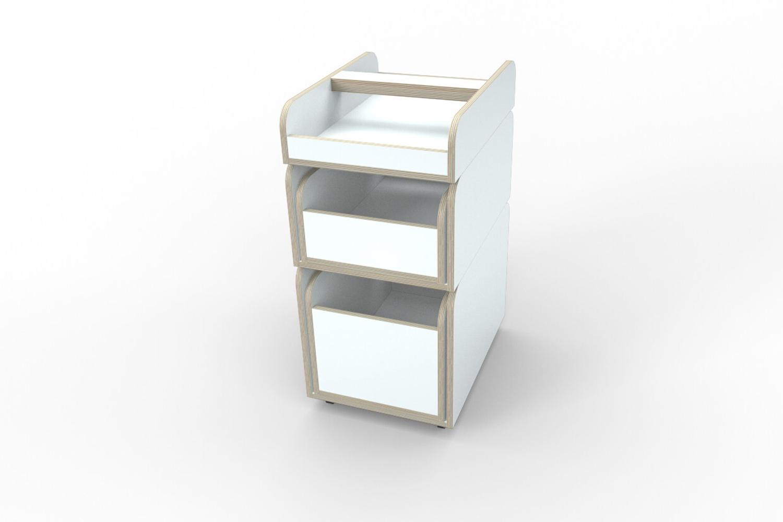 weißer Rollcontainer für Kinder aus Holz von pure position