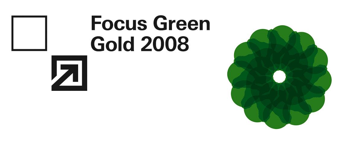Ein grünes Symbol ihn Form eines Blume auf der rechten Seite und auf der linken Seite und auf der rechten Seite steht mit schwarzer Schrift Focus Green Gold 2008