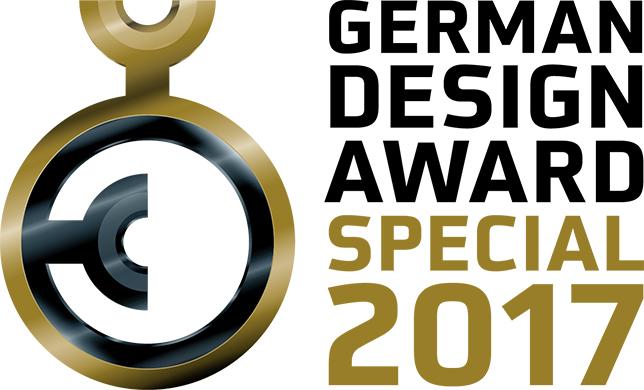 Goldener Kreis mit schwarzen Kreis in der Mitte als Logo für den German Design Award Special 2017