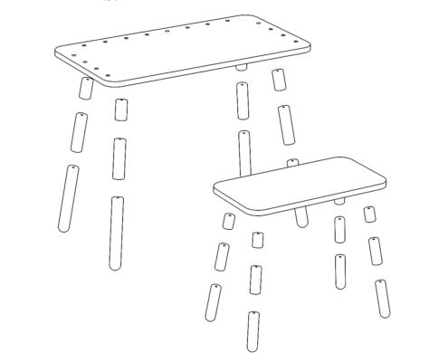 grafische Zeichnung der Bauteile der Füße bei growing table und beim Hocker zur Darstellung der Höhenverstellungvon pure position