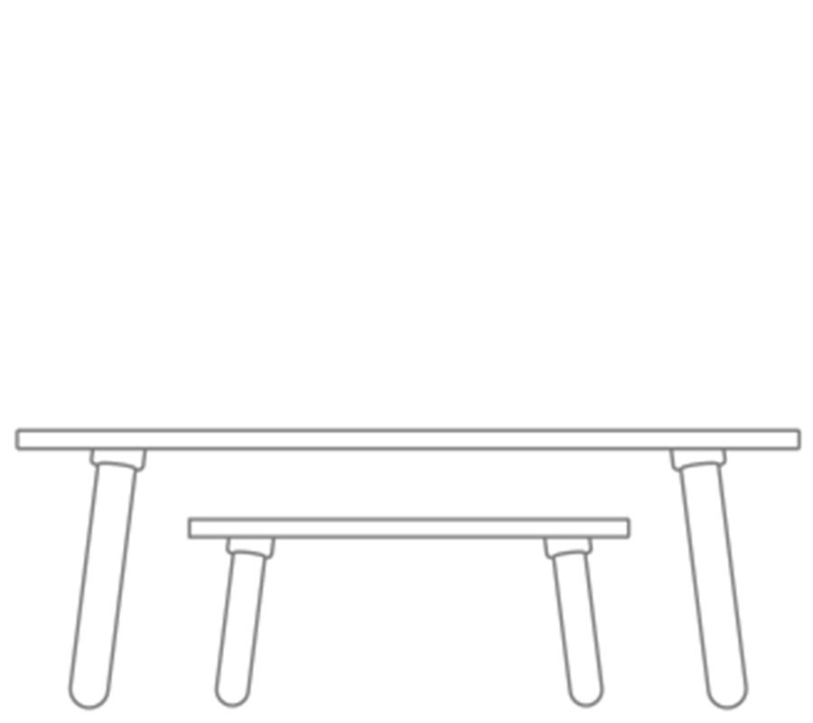 grafische Zichnung bei growing table und beim Hocker zur Darstellung der Höhenverstellungvon pure position