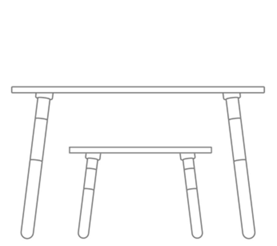 grafische Zeichnung bei growing table und beim Hocker zur Darstellung der Höhenverstellungvon pure position