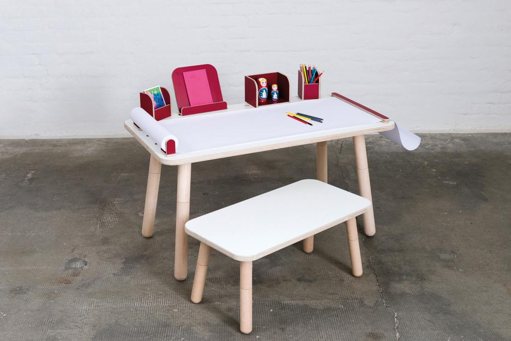 rechteckiger Kinderschreibtisch weiß aus Holz von pure position