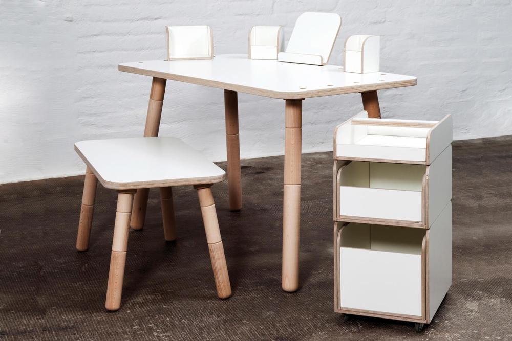 höhenverstellbarer Kinderschreibtisch mit Sitzbank und Rollcontainer weiß aus Holz von pure position