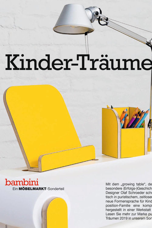 Auschnitt vom Titelbild von Magazin Bambini Möbelmarkt mit einem Bild vom growing table Schreibtisch