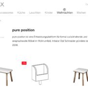 Ausschnitt von der Shopwebseite Connox mit einem growing table auf der linken Seite, einem gt color tools Zettelbox in der Mitte und einem growing table Hocker auf der rechten Seite