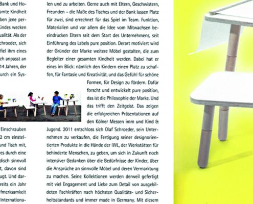 Auschnitt vom Magazin das beste für ihr kind mit einem Artikel vom growing table mit einem Bild vom growing table auf der rechten Seite und Text auf der linken Seite