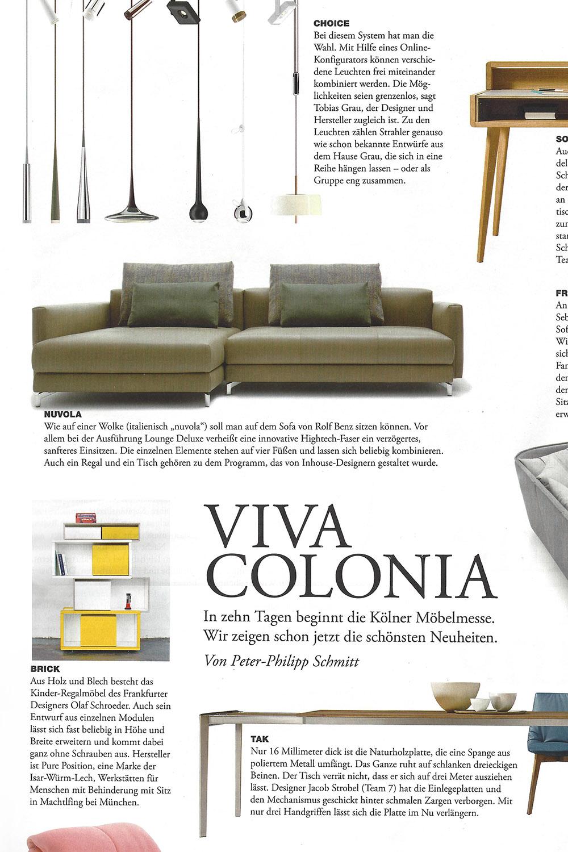 Auschnitt vom Magazin Faz mit Artikeln und Bilder von Möbel sowie ein Bild vom vom gelben brick for kids tower mit Text