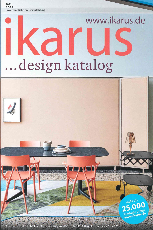 Titelbild vom Design Katalog ikarus mit einem Esstisch als Titelbild