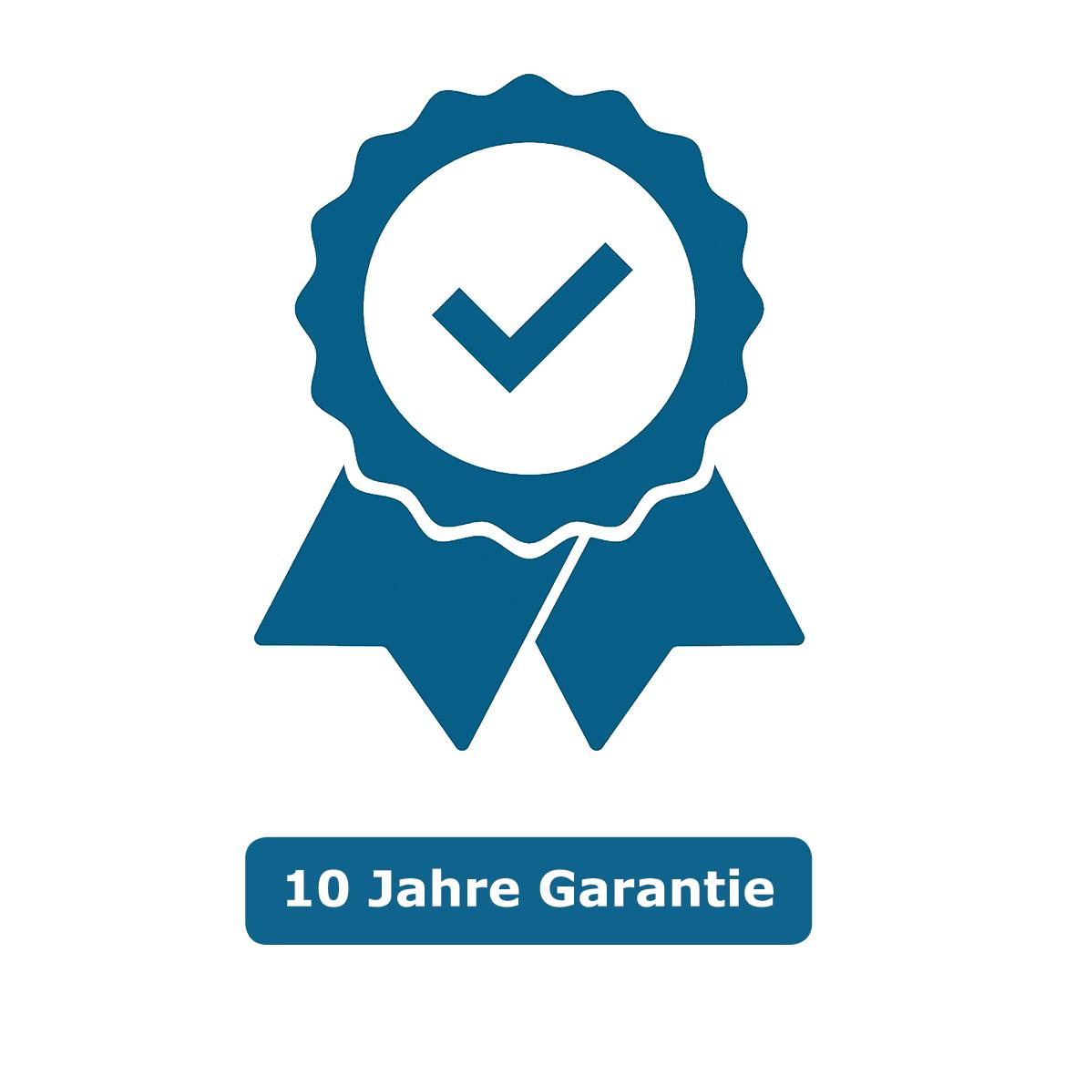 Das Symbol zeigt ein blaues Qualitätssiegel mit einem blauen Hacken in der Mitte. Das Symbol steht für 10 Jahr Garantie