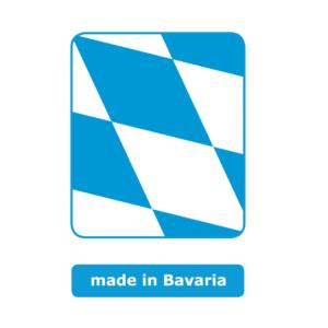 Viereckiges blau und weiß kariertes Symbol mit abgerundeten Ecken. Das Logo zeigt ein Ausschnitt von der bayerischen Flagge. Das Symbol steht für made in Bavaria