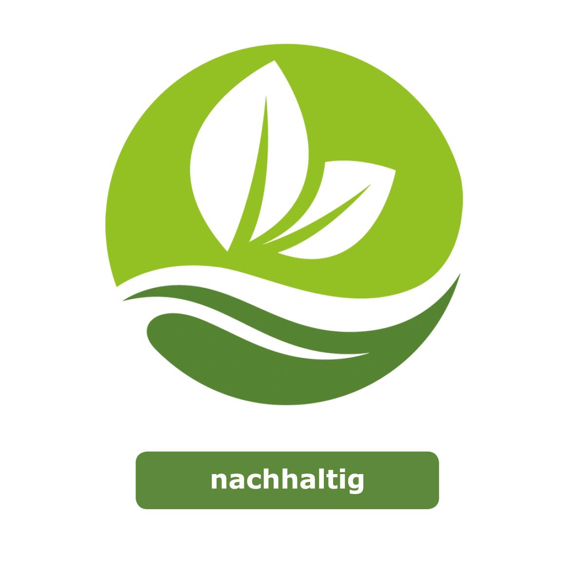 Ein grünes rundes Symbol mit weißen zwei weißen Blättern und einer weißen Welle in der Mitte. Das Logo steht für den Wert Nachhaltigkeit