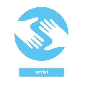 Ein rundes blaues Symbol mit zwei weißen Händen in der Mitte. Das Logo steht für den Wert Sozial